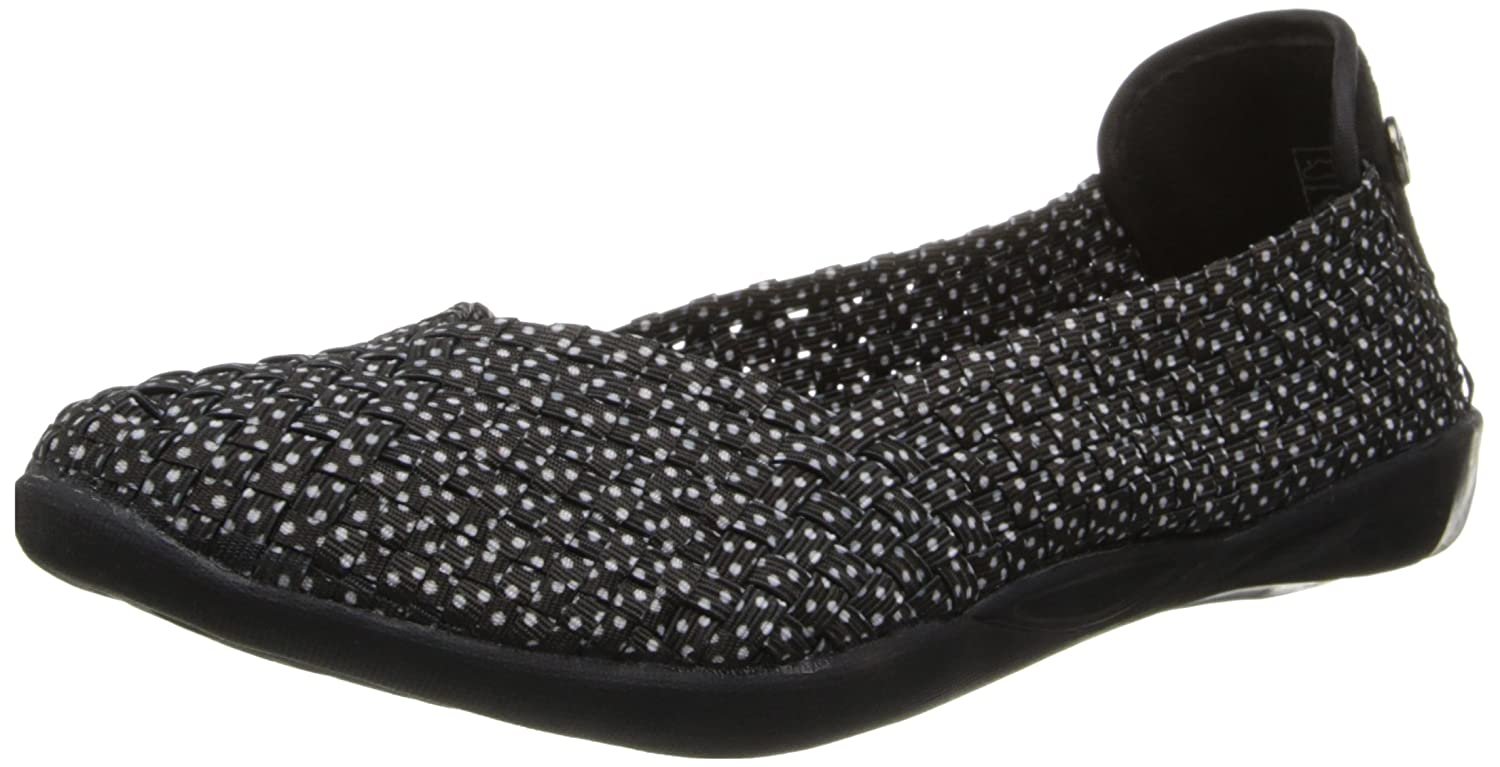 Black Polka Dot Bernie Mev Womens Braided Catwalk Flat
