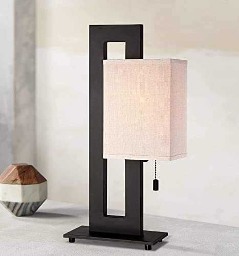 Floating Square Modern Accent Table Lamp Espresso Bronze Rectangular Oatmeal Box Shade for Living Room Family Bedroom – 360 Lighting