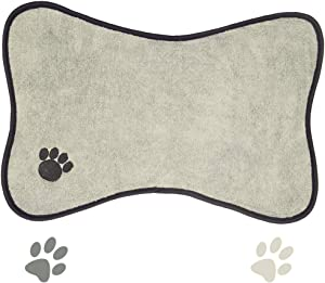 Ptlom Dog and Cat Medium and Small Placemat, Pet Food and Water Mat Suitable for Medium and Small Pets, Prevent Water and Food from Spilling, Cotton, White