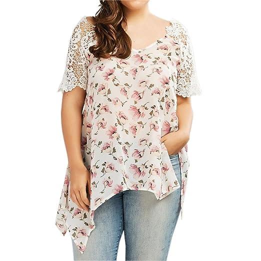b669a4367cd Minisoya Plus Size Women Boho Floral T-Shirt Short Sleeve Lace Tunic Tops  Irregular Blouse