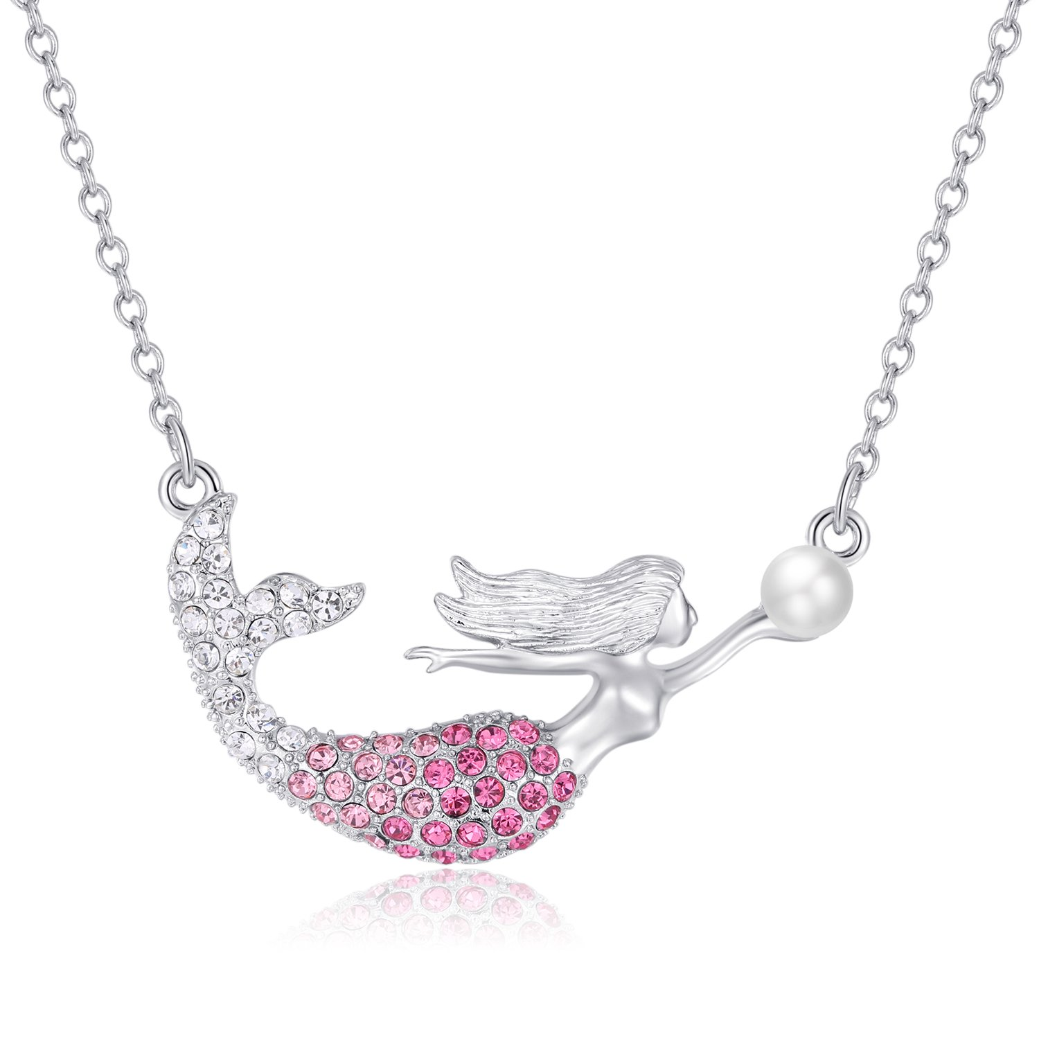 Mermaid Pendant Necklace for Kids Women Girls, Sliver Mermaid Fairytale Crystal Charm Birthday Gift Jewelry with Peal Boosin MER-M-S0
