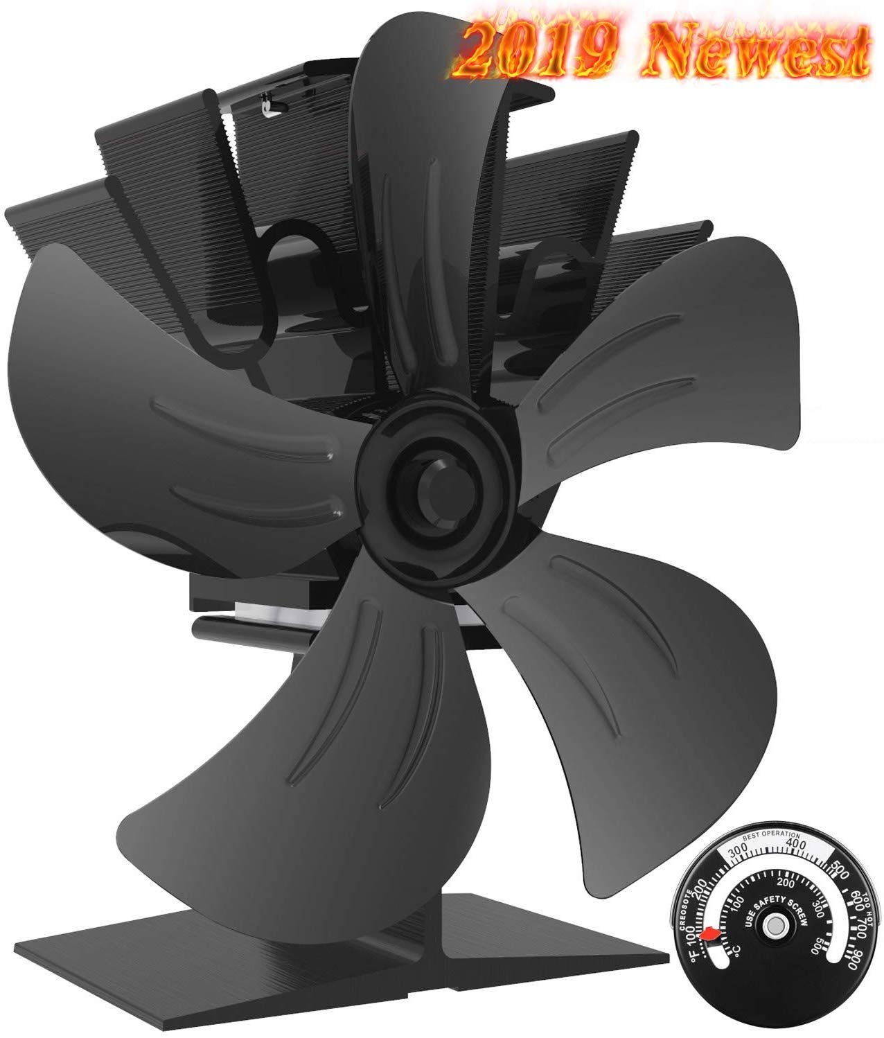 X-cosrack 5 Blades Heat Powered Stove Fan for Wood Log Burner Fireplace Slient Eco-Frienly Fan with Magnetic Thermometer Aluminium Large by X-cosrack