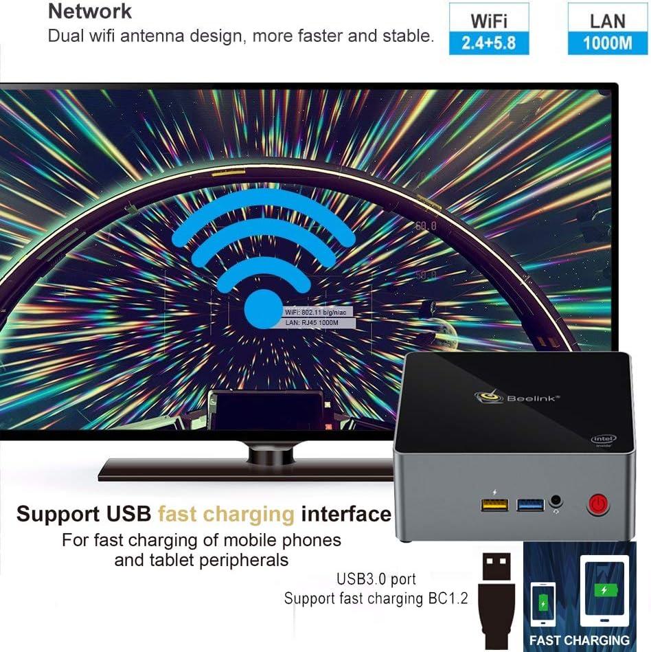 128 GB SSD0 4K Beelink J34 Mini PC con Windows 10 5,8 GHz Doppio WIFI 2,4 Intel HD Graphics 500 Accensione automatica Intel Apollo Lake Celeron J3455 Gigabit Ethernet 8 GB DDR3L BT 4.0