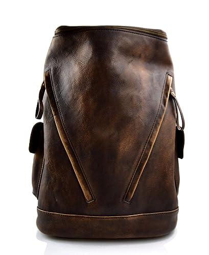 Sac à dos marron fonce cuir italien lavé vintage sac à dos en cuir ...