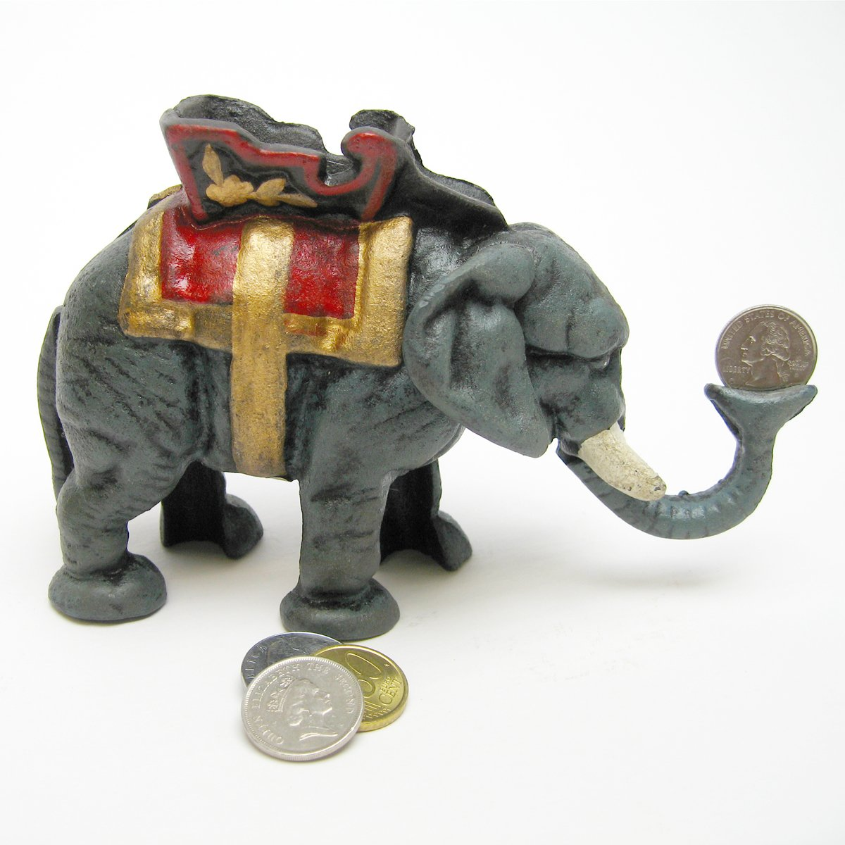 Design Toscano Circus Elephant Collectors' Die Cast Iron Mechanical Coin Bank by Design Toscano (Image #2)