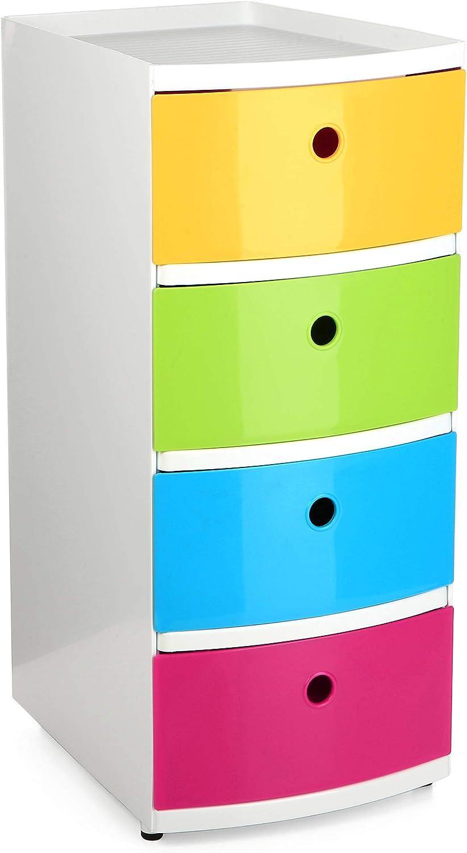 Tatay Torre de Ordenación Kids - Torre con 4 Cajones Tamaño DIN-A4, Multicolor