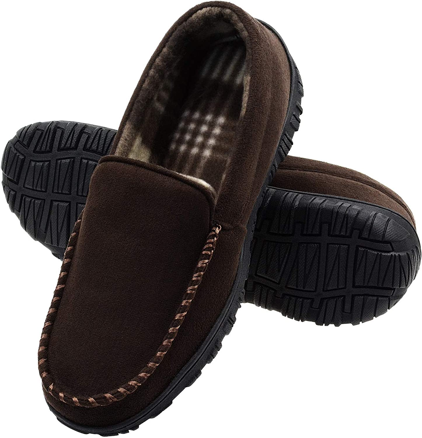 VLLY House Slippers for Men Moccasin Slippers with Comfortable Memory Foam Anti Slip Rubber Sole Driving Bedroom Slippers