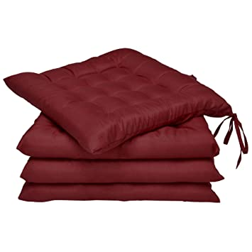 Beautissu Set 4 Lea - comodísimos Cojines para sillas - Vivienda o terraza - 40 x 40 x 5 cm - Rojo Oscuro