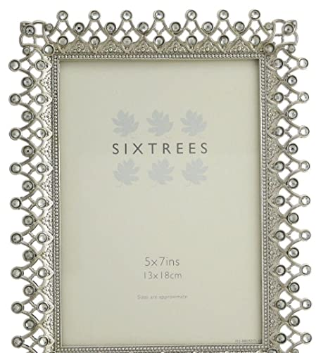 Shiny Silver Collection Metal photo frame with diamante 5 x 7 inch ...