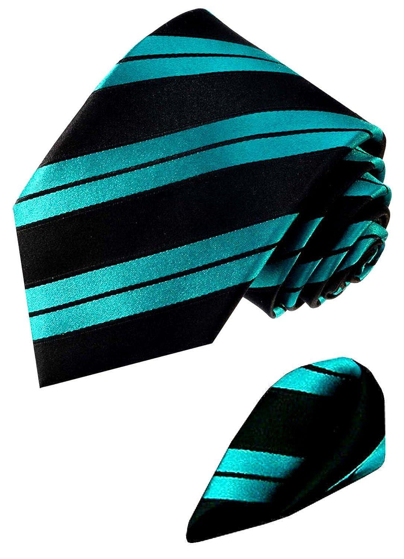 Lorenzo Cana - Marken Set aus 100% Seide - tü rkis petrol gruen schwarz Streifen Krawatte mit Einstecktuch - 8450601