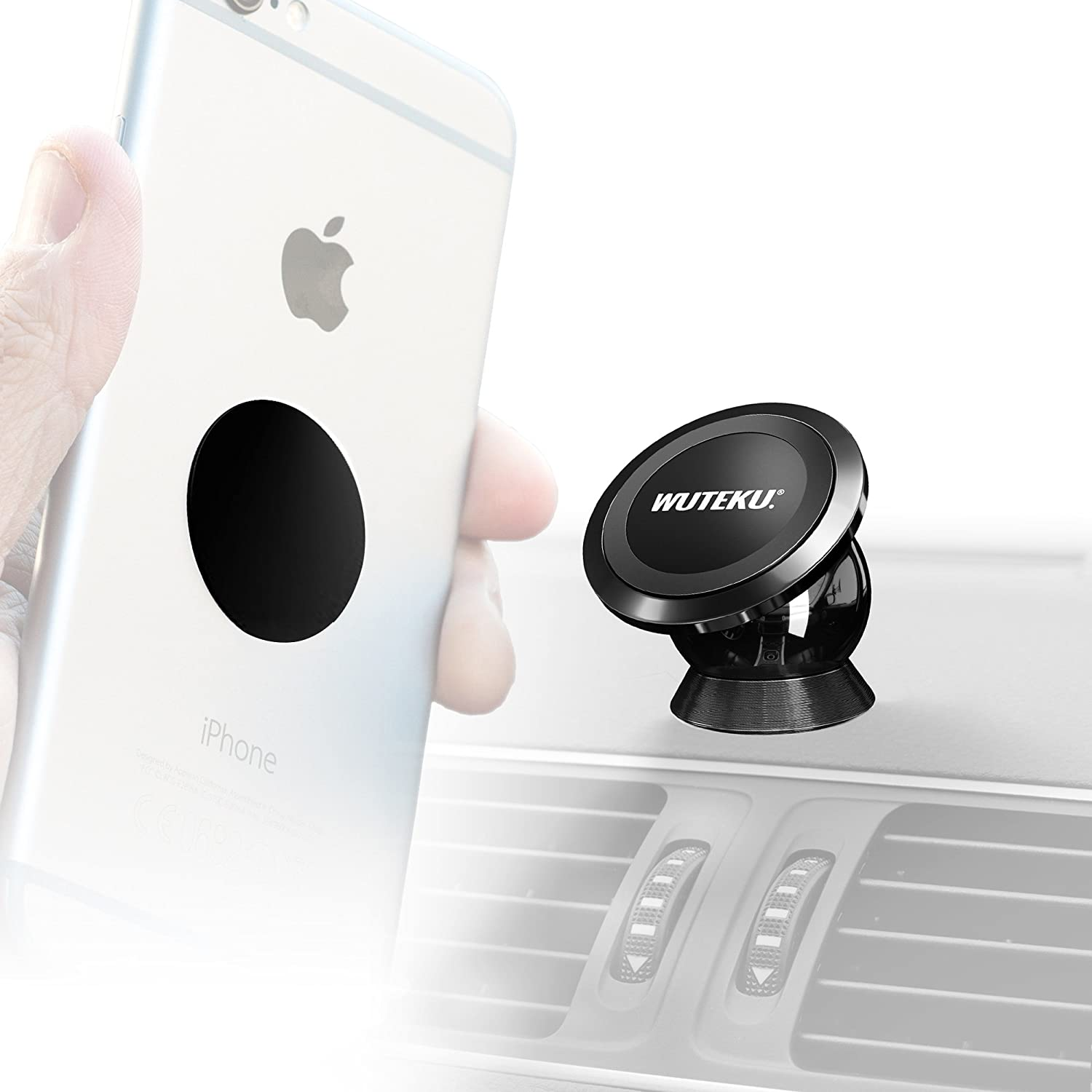 Wuteku UltraSlim Accessories Pack for Magnetic Cell Phone Holder 2 x Large Metal Discs Includes 2 x Large Metal Plates 2 x Standard Metal Discs 6 x 3M Mount Adhesives