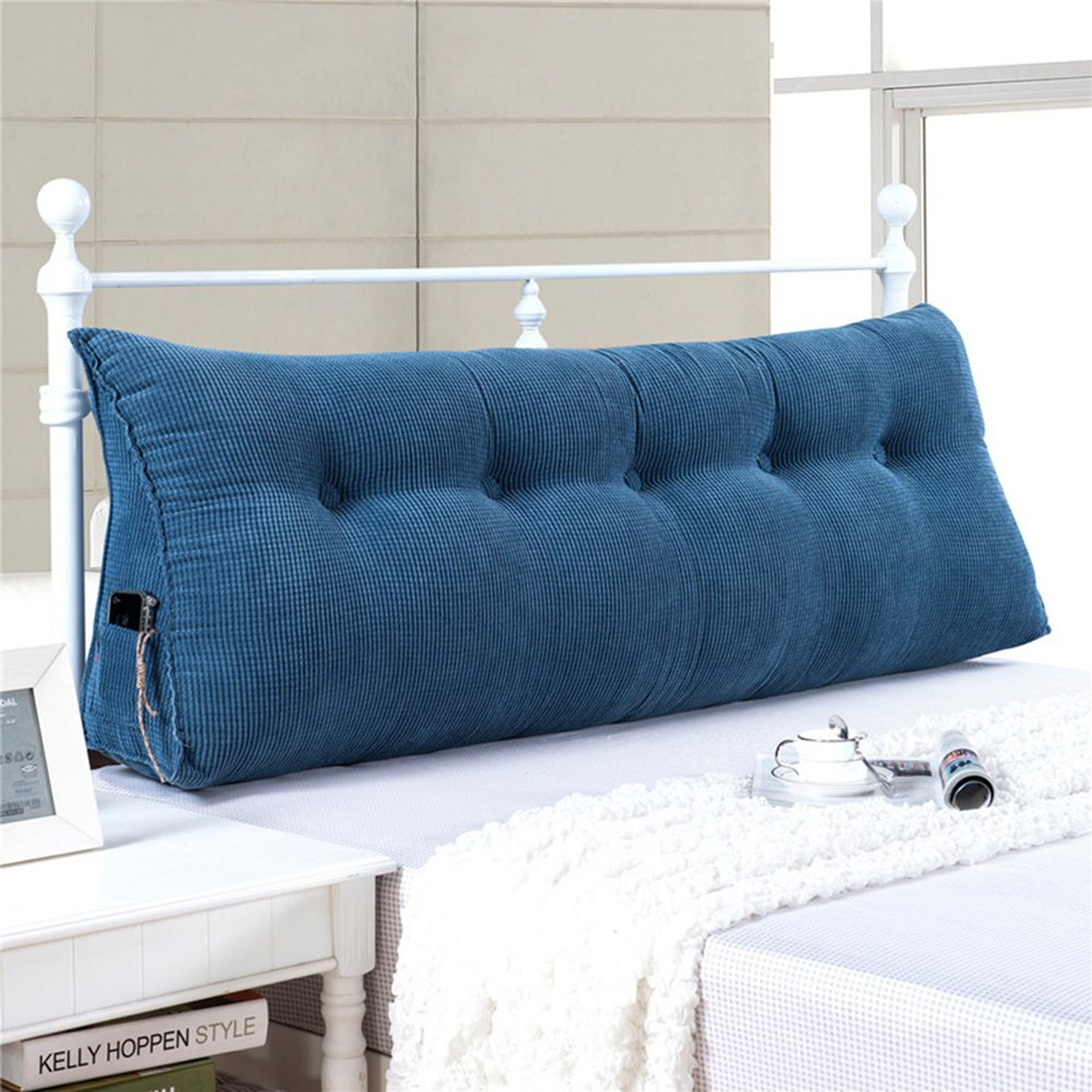 YXCSELL Large Filled Triangular Soft Headboard Wedge Cushion Bed Backrest Positioning Support Reading Pillow Home Lumbar Pad Removable Cover Denim Blue 59 inches