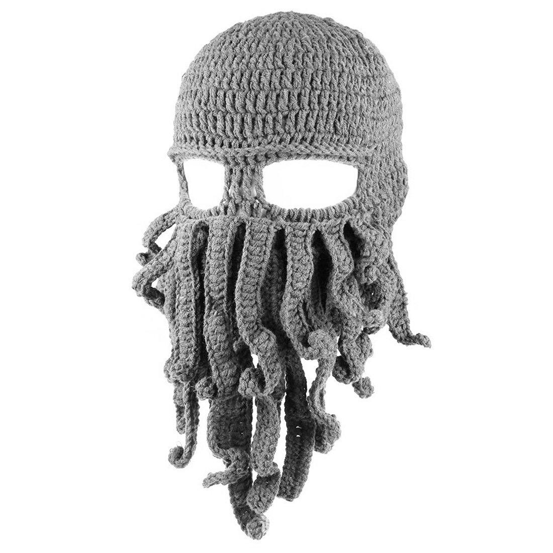 Queenbox Warm Passamontagna Octopus Tentacle Mask Cappello Cappello Lavorato a Maglia Divertente Barba Maschera da Sci per Uomo Donna Regalo Cosplay