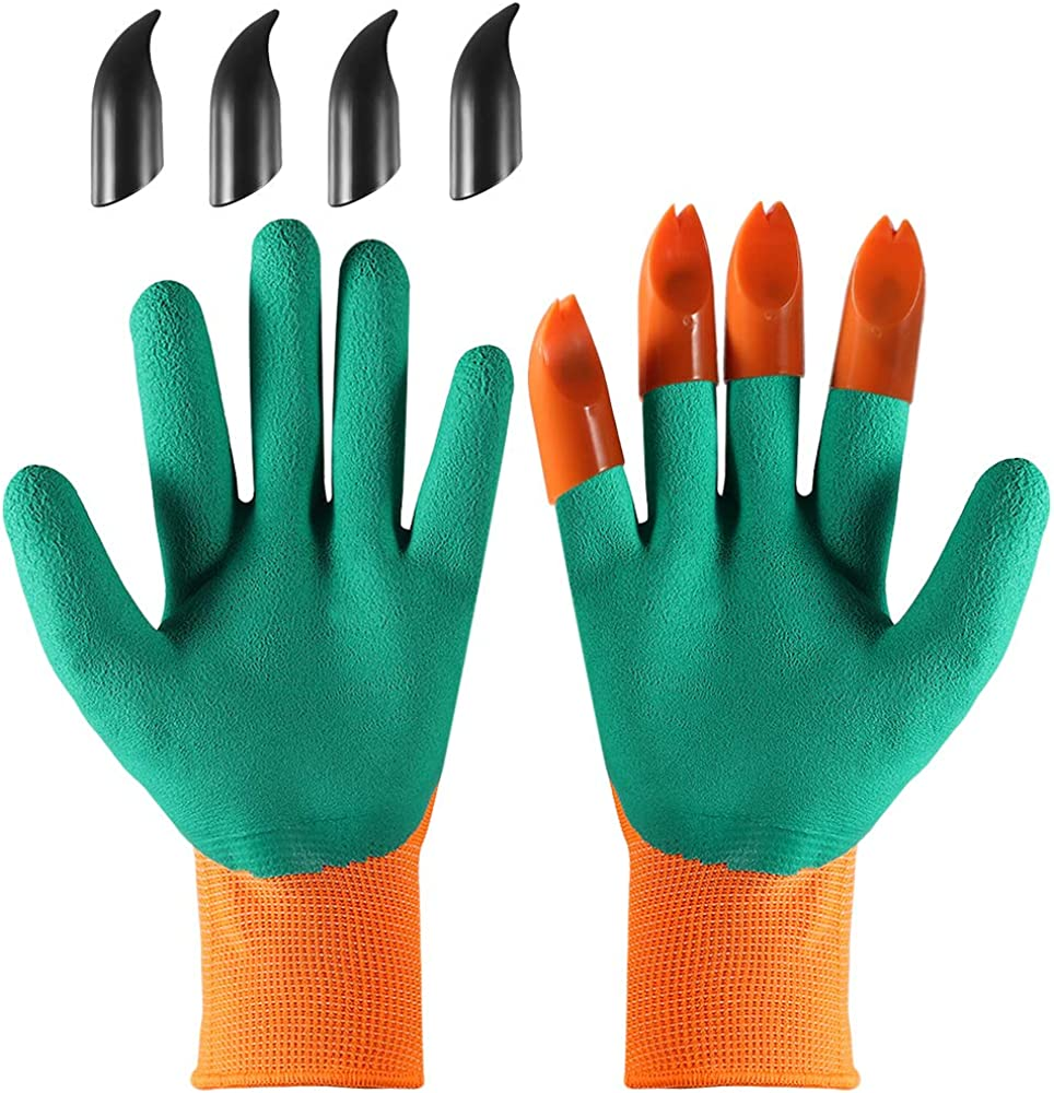YUWLDD Garden Genie Protective Gloves,Planting Vegetables and Flowers Digging Soil Wear-Resistant Non-Slip Outdoor Dipping Garden Planting Weeding,Gloves with Claws(Right+Left Claw 4 pair)