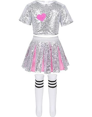Freebily Bambine Abito Pattinaggio Artistico Ragazze Vestito Senza Maniche Tutu Danza Classica Balletto per Ballo con Paillettes Tie Ballerina Costume Carnevale Halloween
