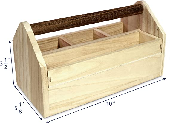 Houseworks Tool Box Garden Tote Kit Storage Unfinished Wood Large Carry Handle