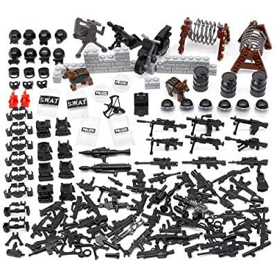 Feleph Swat Team Weapons Pack Police Gear Toy Guns Building Blocks Modern Arms Armor Accessories WW2 Military Army Set with Gas Mask Shields Custom Battle Bricks Figures: Toys & Games