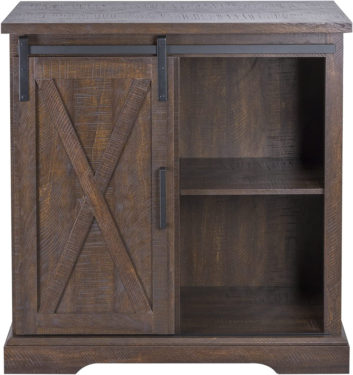 Amolife 32 Inch Farmhouse Buffet/Sideboard Cabinet, Functional Wood Barn Door Cabinet, Accent Chest, Kitchen/Dining/Living Room Furniture,Espresso