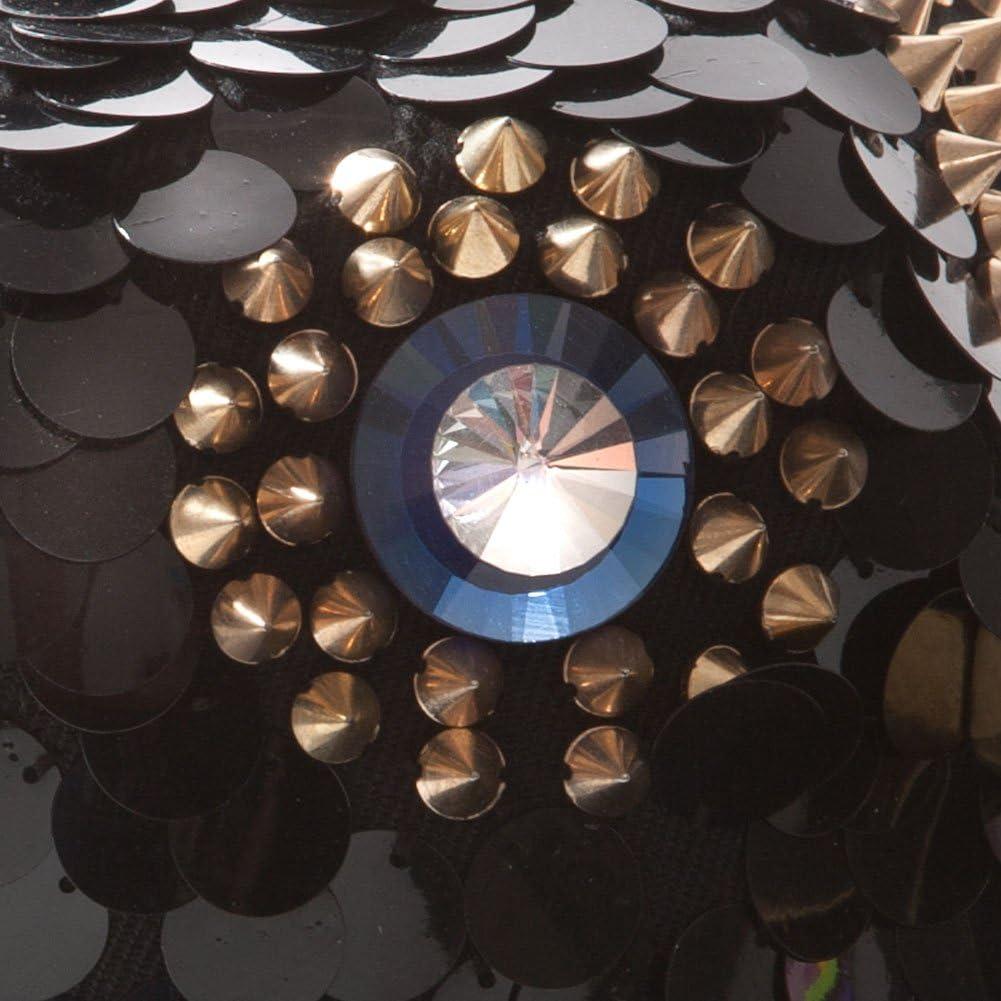 GewGaw Black Snap-Back Flatbill Cap with Studded Owl Design