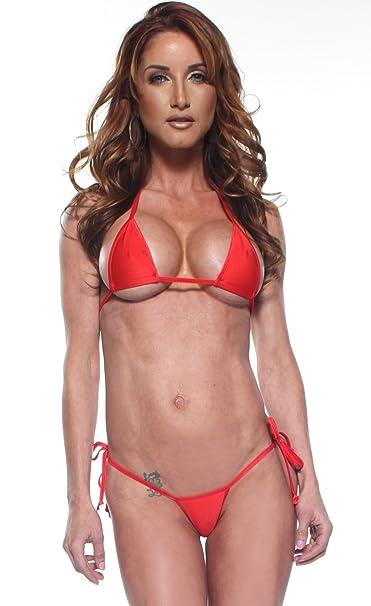 92c0adc466 Amazon.com  Solid Red Sexy Tie Side Thong Bikini 2 Piece Mini Micro Made in  USA  Clothing