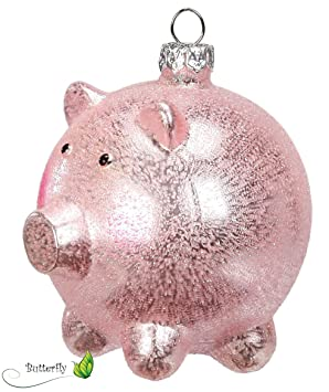 Amazon De Christbaumschmuck Schweinchen Schwein Glas 8cm