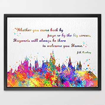 Dignovel Studios 8X10 Hogwarts Castle Quote Inspired Watercolor Illustration Art Print Friendship Quotes Nursery Kids