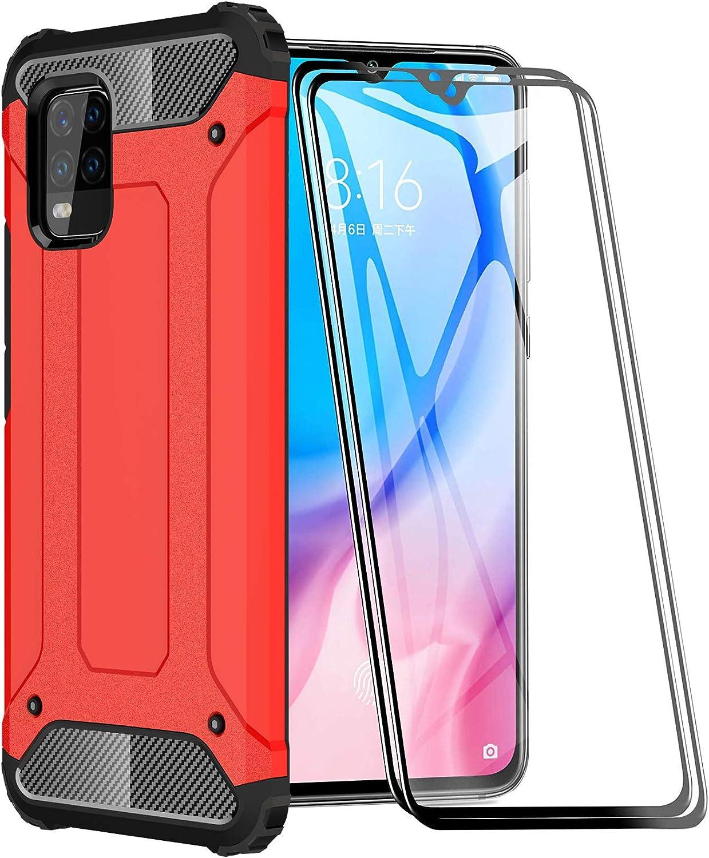 FANFO® Funda para Xiaomi Mi 10 Lite 5G, protección contra Golpes de TPU + PC Resistente a arañazos (Doble Capa) Carcasa para Xiaomi Mi 10 Lite 5G, Rojo + 2 Piezas Protector de Pantalla