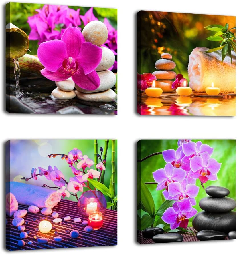 "Zen Wall Art SPA Canvas Pictures Contemporary Canvas Artwork Stone Green Bamboo Pink Flower Modern Garden Art Bedroom Bathroom Living Room Nursery Home Office Kitchen Wall Decor 16"" x 16"" x 4 Pieces"