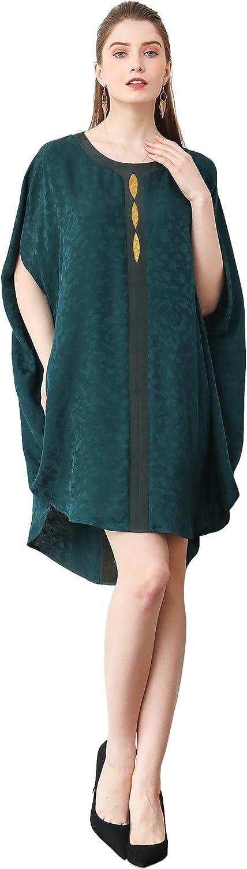 VOA Womens Silk Forest Green High Low Shirt O-Neck 3//4 Sleeve Loose B120