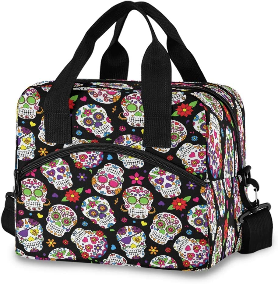Day Of The Dead Sugar Skull Lunch Bags for Women Flowers Rose Daisy Love Heart Lunch Tote Bag Lunch Box Thermal Cooler Bag Lunch Organizer for Working Picnic Beach Sporting