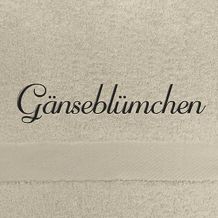 Toalla de baño con nombres margaritas bordados, 70 x 140 cm, beige, extra