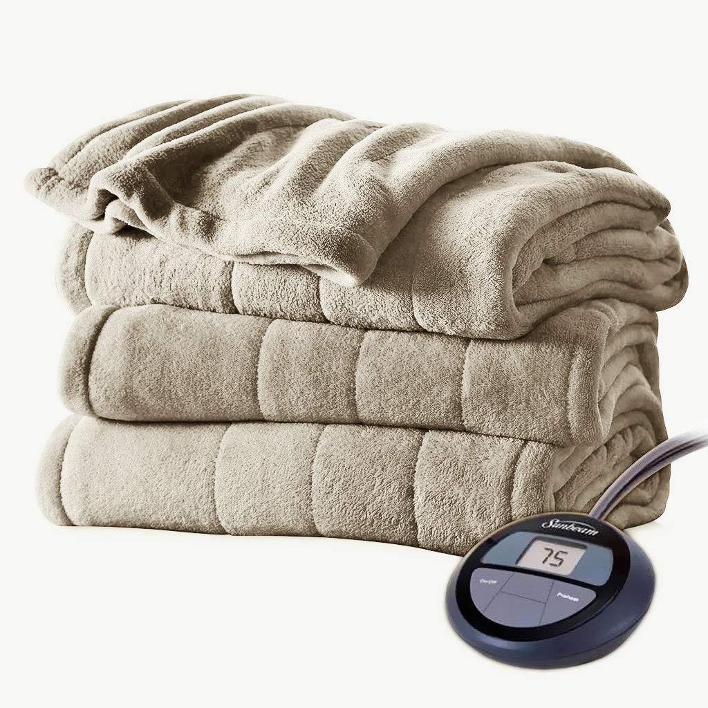 Sunbeam Channeled Velvet Plush Electric Heated Blanket Twin Mushroom