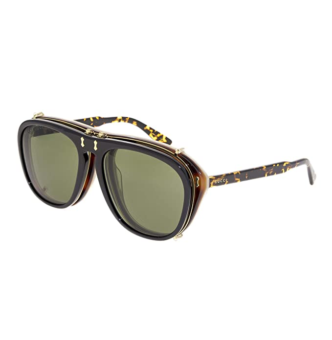 Gafas de Sol Gucci GG0128S BLACK HAVANA/GREEN hombre: Amazon ...