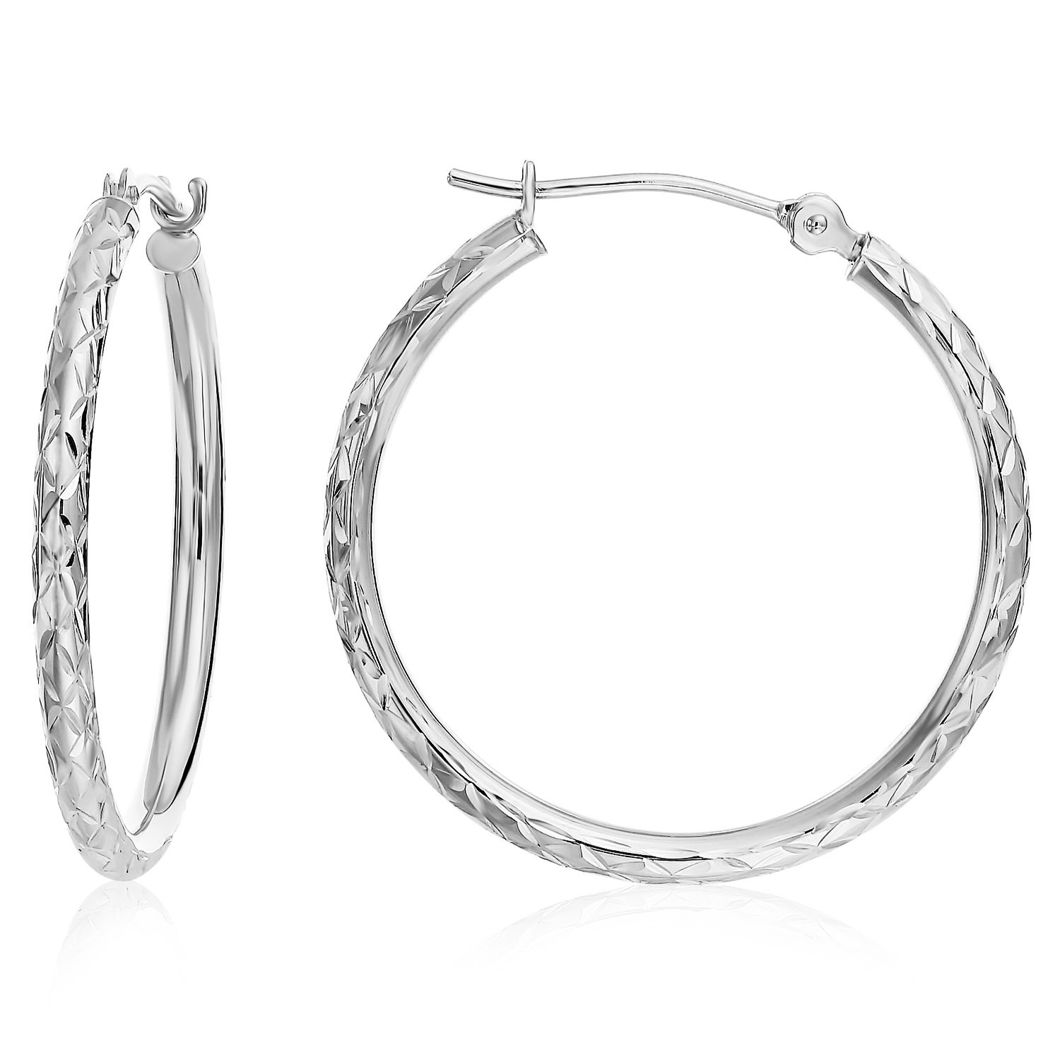 14k Gold X-pattern Diamond-cut Round Hoop Earrings, 1'' Diameter (white-gold)