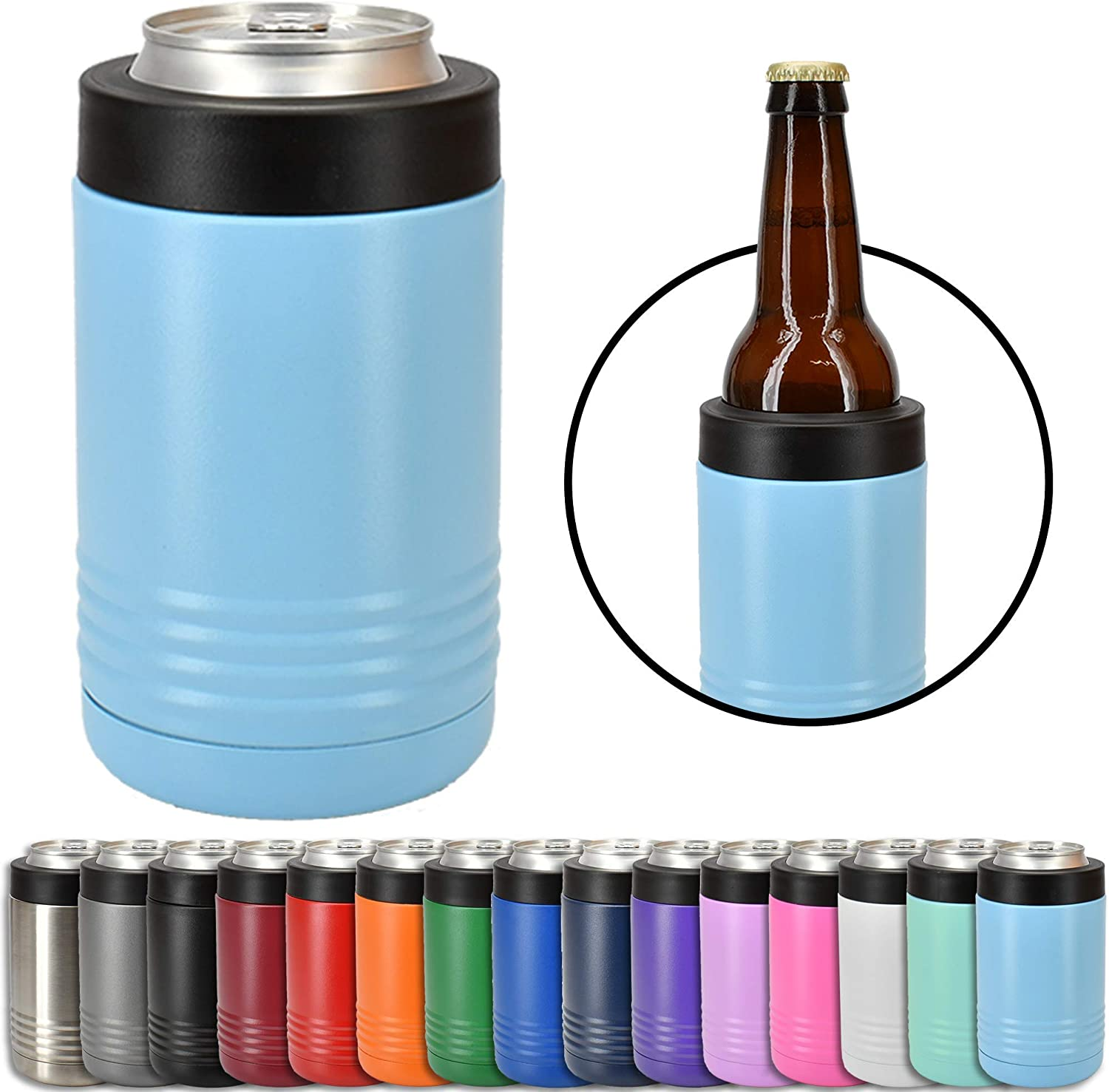 Clear Water Home Goods - 12 oz Stainless Steel Double Wall Vacuum Insulated Can or Bottle Cooler Keeps Beverage Cold for Hours - Powder Coated Light Blue