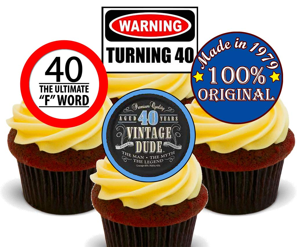 Super 40Th Birthday Male Funny Mix Edible Cupcake Toppers Stand Up Personalised Birthday Cards Cominlily Jamesorg
