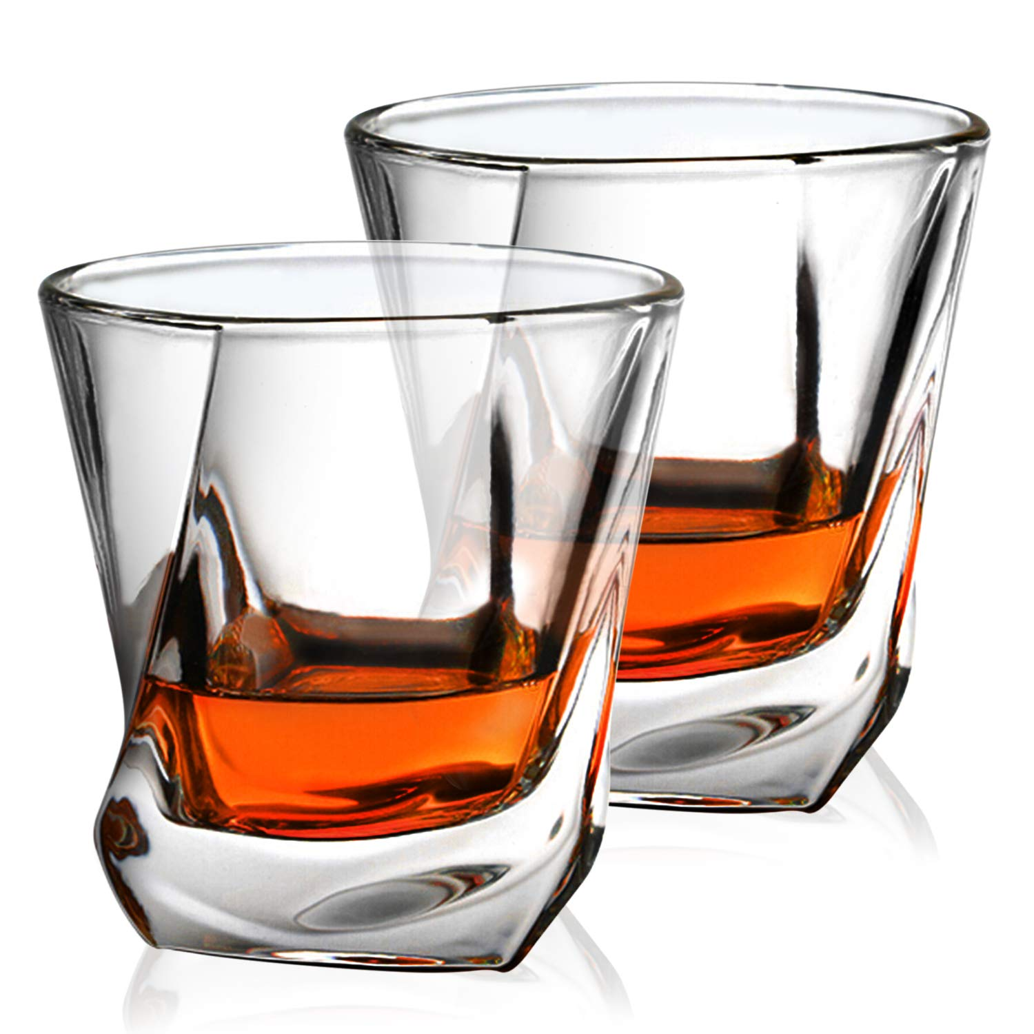Crystal Whiskey Glasses - Imarku Old Fashioned Glasses for Whiskey, Scotch,Cognac,Bourbon-Liquor Glasses for Men/Women-Set of 2-Luxury Gift Box-Twisted