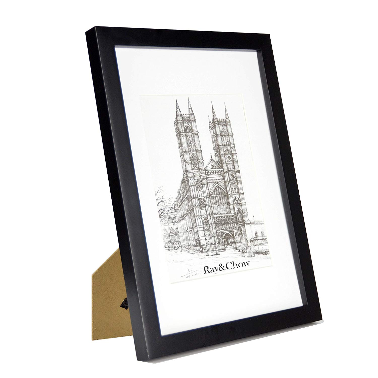 Ray & Chow A4 Black Picture Frame - Solid Wood - Glass Window - with Picture Mat for 6x8 Photo - Frame Width 2cm
