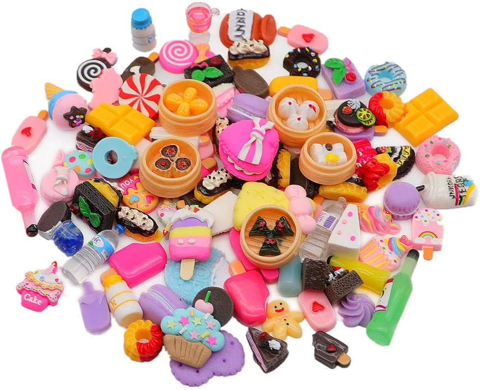 Miniature Food Toys - ANPHNIE 100pcs Mixed Cake Candy Bottles Miniature Dollhouse Accessories(2021 New)