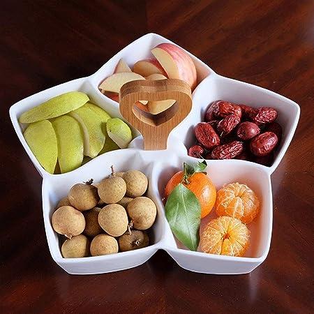 Cuenco chic Gran plato de cerámica de cinco puntas plato de fruta estrella caja de pastelería multi-rejilla plato de fruta seca merienda caja desayuno plato mango (M/L) (Tamaño: M): Amazon.es: Hogar