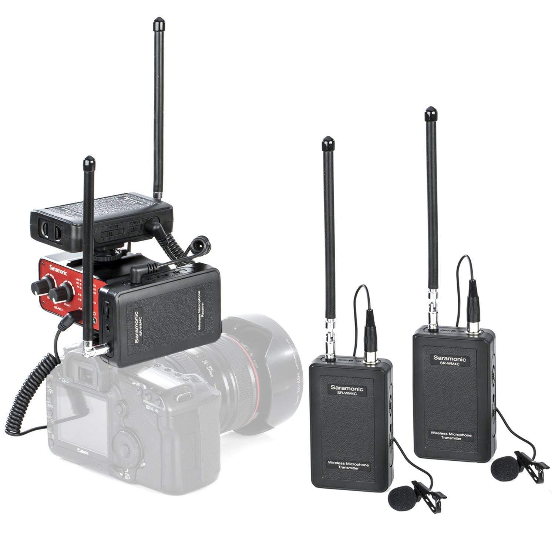 Saramonic VHF デュアルワイヤレスラバリアマイクシステム 送信機2個 受信機2個 オーディオミキサー1個 ニコン キャノン ソニー パナソニック デジタル一眼レフカメラ ビデオカメラに対応   B07KQZZZ4T
