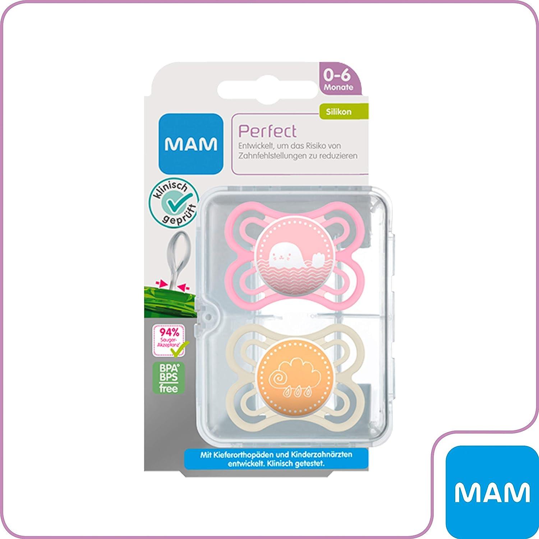 6/pour filles Lot de 2/sans BPA MAM b/éb/é Article 99953100/sucette Silicone Perfect 0