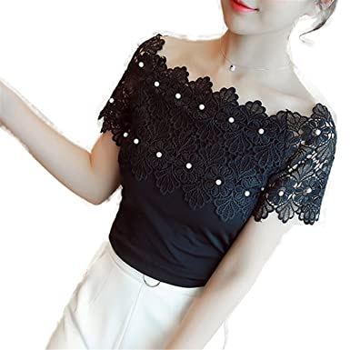 OUXIANGJU Women Shirts White Lace Beading Tops Lady Renda Patchwork Sexy Hollow Out Blouse