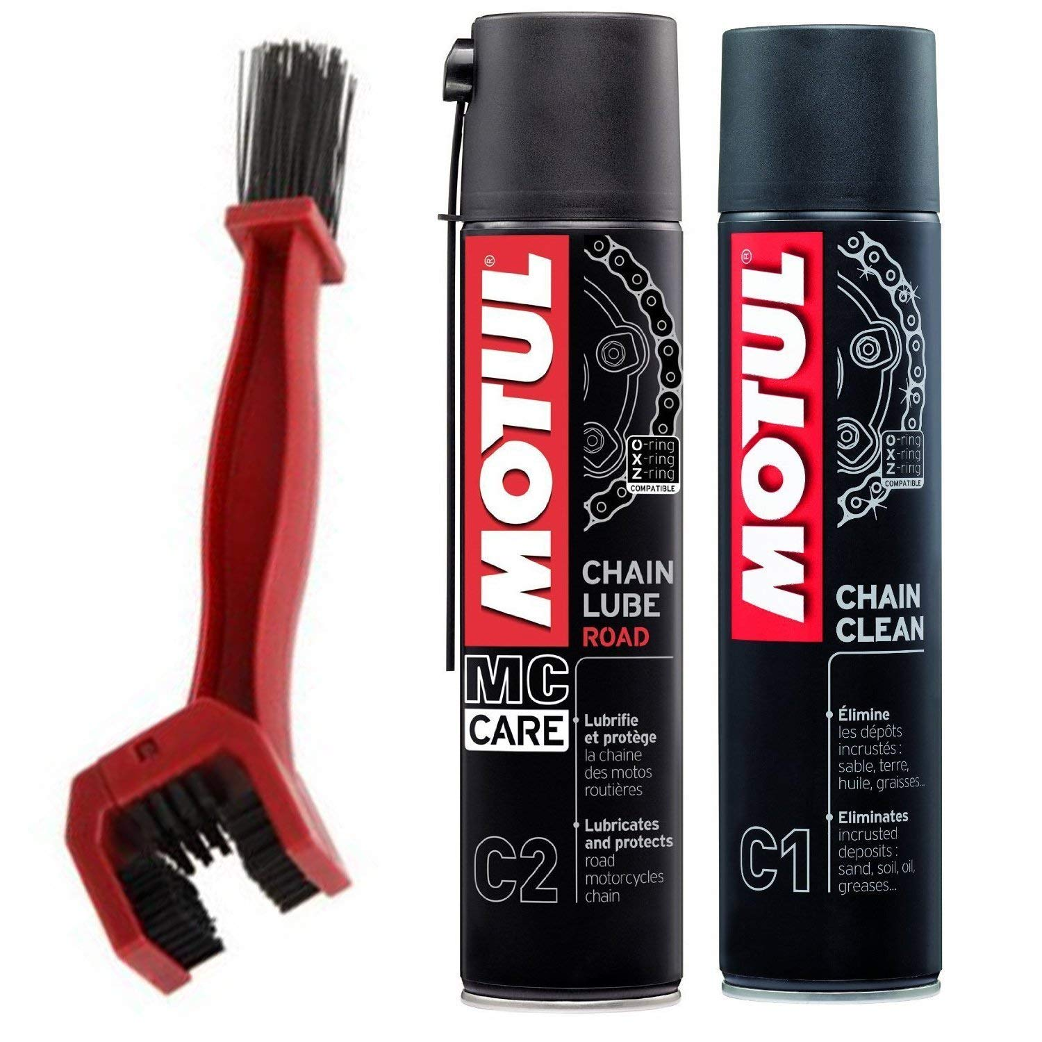Motul C1 Chain Clean and C2 Chain lube (400 ml) with GrandPitstop Bike Chain Cleaning Brush Red product image