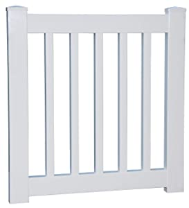 "10"" to 34"" Wide x 36"" High White Vinyl Picket Gate - Deck - Porch - Garden Gate"