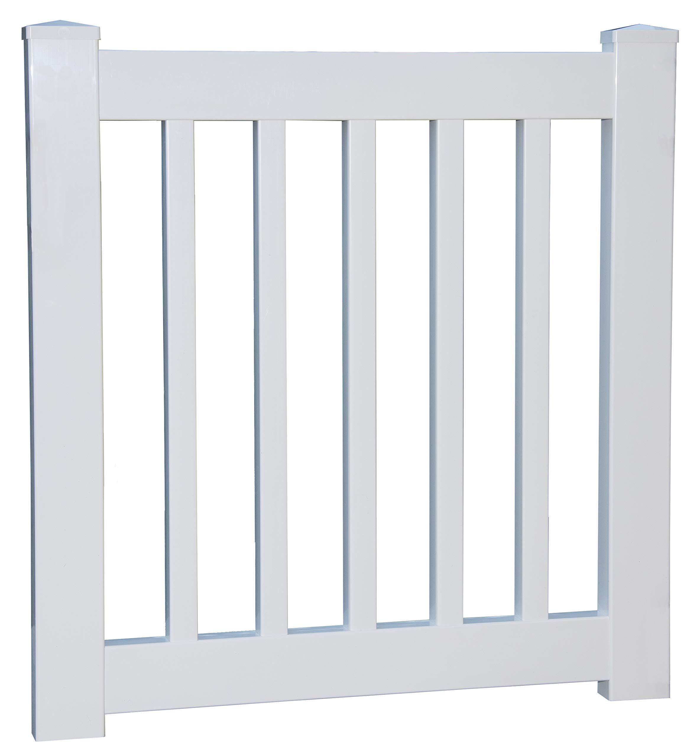 29'' to 34'' Wide X 36'' High White Vinyl Picket Gate - Deck - Porch - Garden Gate
