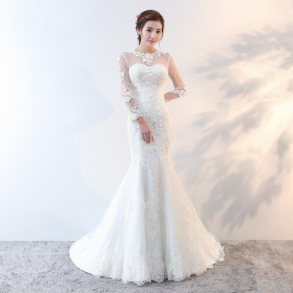 Beige DIDIDD Wedding Dress Sweet Word Slim Slim Small Tail Bride Wedding Fishtail Wedding