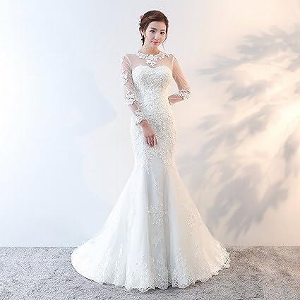 Amazon.com: Cxy Wedding Dress Sweet Word Slim Slim Small Tail Bride ...