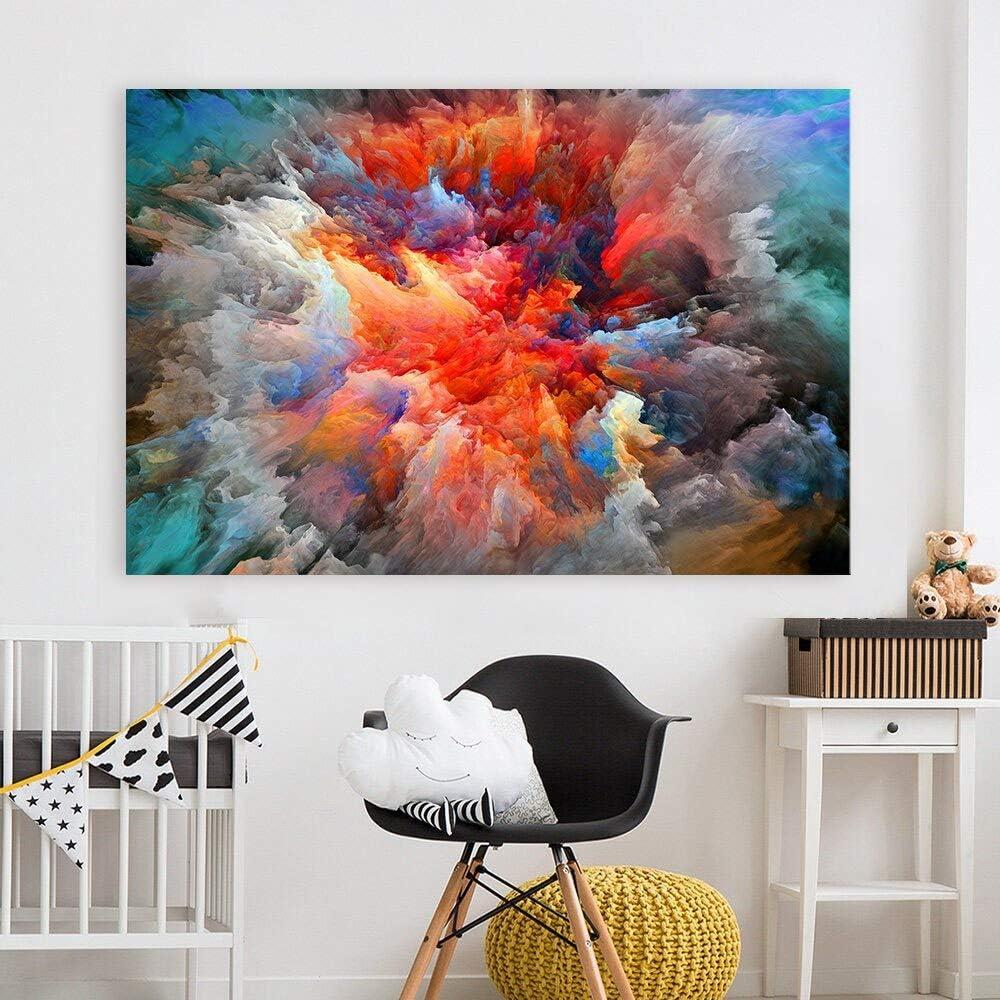 Sandalenka Grandes Nubes de Colores Abstractos Cuadros de Arte de Pared para Sala de Estar decoración Moderna para el hogar Pinturas de Aceite de Lona HD 50x70cm