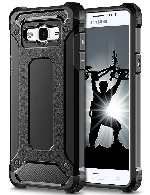 25 opinioni per Cover Samsung Galaxy J3 2016,Nero Shock-Absorption Protezione Hybrid Dura Soft